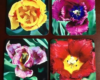 Flower Photo Coaster, Hardboard Coaster, Set of 4 Square Coaster with Cork, Sublimated Coaster, Printed Coaster, Home Decor, Accessories.
