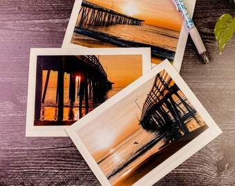 Sunrise Photo Note Card, Blank Card, set of 3, 4x6 Photograph mounted on 5x6 7/8 Card, Greeting Cards, Inspirational Note Cards.