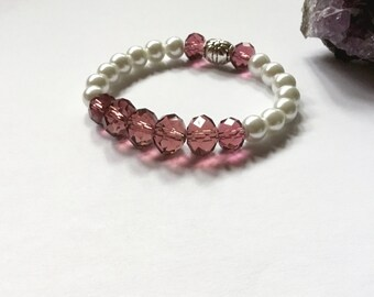 Pearl and Crystal Bracelet, Beaded Bracelet, Inspirational Bracelet, Pearl,  Stretch Bracelet, Bridesmaids Bracelet, Friendship Bracelet.