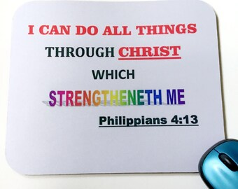 Christian Mouse Pad, Bible Verse Mouse Pad, Mouse Pad, Inspirational Mouse Pad, Religious  Mouse Pad, Computer and Accessories.