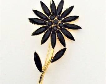 Retro Vintage Huge Black Rhinestone flower in Gold tone - flower brooch pin