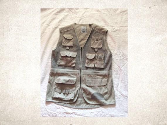 Vintage Bugle Boy Cargo Vest; Fishing, Hiking, Cam