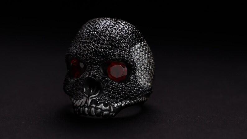 Skull Swarovski ring. Silver Skull ring. Men ring. Silver image 0