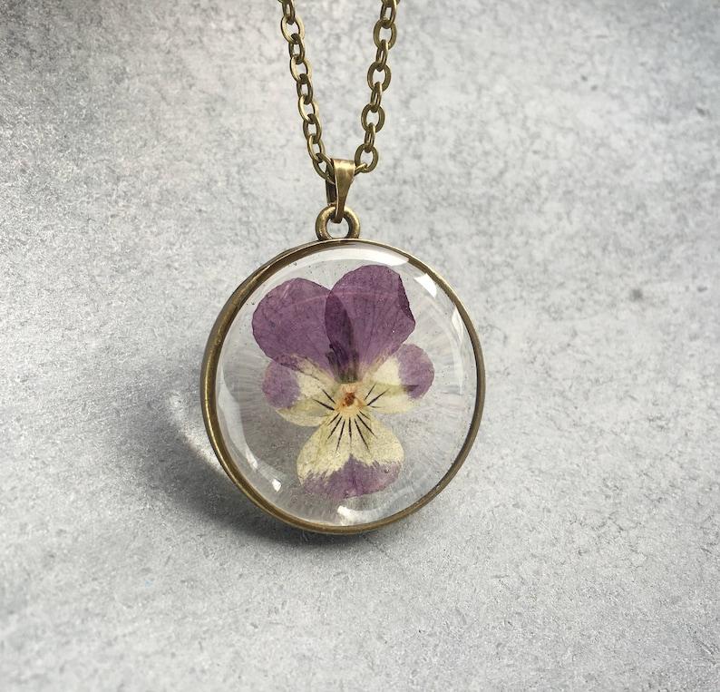 PurpleYellow Pansy in slim Antique Bronze Open Back Bezel Resin Necklace Resin Pendant Flower Jewelry Pressed Flower Valentine/'s Day