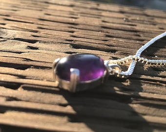 Pretty Amethyst Gemstone Necklace // Small 14x10mm Purple Oval Pendant // Sterling Silver Jewelry // Gift for Her //