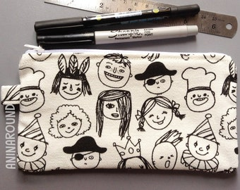 cute faces pencil case, pencil case, pouch, cosmetic bag, zipper pouch, bag, pencil bag, organizer, small bag.