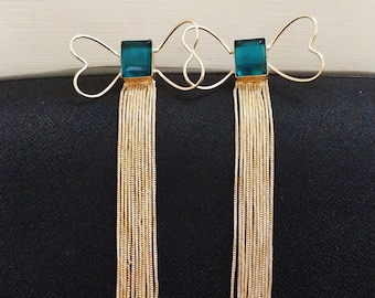 The Jewel Basket Gold-Toned & Green Contemporary Drop Earrings