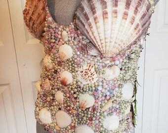 55167ca6a0 Mermaid beaded shell bustier top