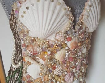 713d90a74c Mermaid beaded shell bustier top