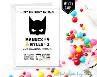 Batman Birthday Invitations Printed Invite Custom Invitation Personalised Party Printables