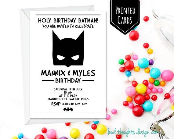 batman printed birthday invitations batman monochrome etsy
