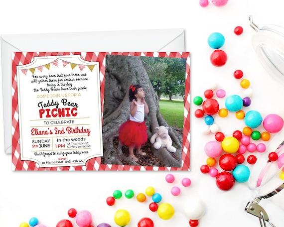 Oso De Peluche De Picnic Invitaciones Cumpleaños Digital Cumpleaños Osito Invitar A Vestido Impreso Foto Cumpleaños Invitación Digital Invitan A