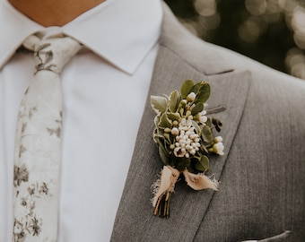 Fresh Greenery Boutonnieres -  Real, Fresh Greenery and Tiny Flowers - Circular or Regular for Wedding, Prom, Events etc. Fully Cus