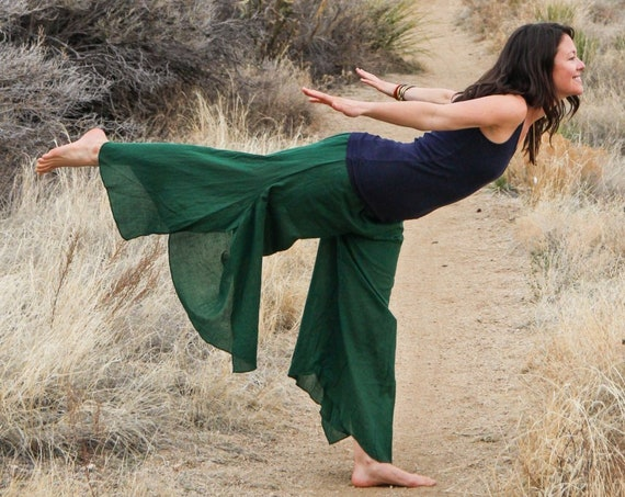 Cotton Flow Pants in EMERALD // Partially Lined, Moisture Wicking, Yoga, Biking, Play! Flexible Waistband.