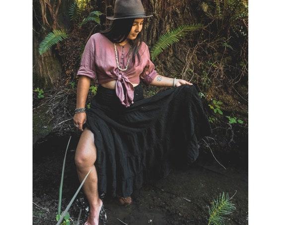 Flutter Skirt in BLACK // Lush Cotton, Natural Fiber, Flexible Waistband /