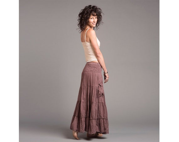 Gauze Tiered Maxi Skirt in DESERT ROSE // Pockets, Natural Fiber, Flexible Waistband / Breathable Elegance!