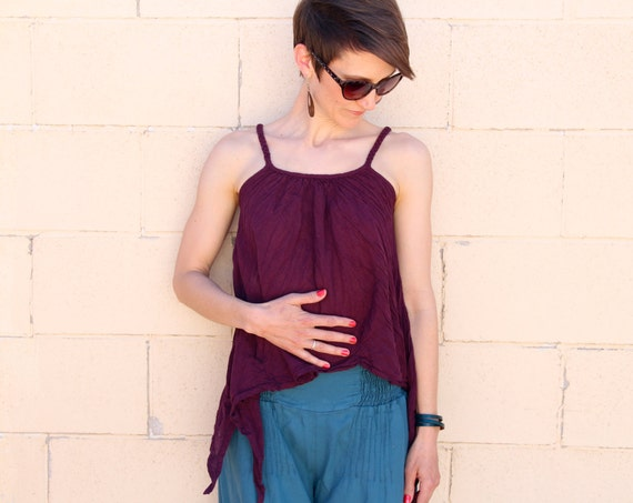Gauze Fairy Tank in EGGPLANT // Braided Straps, Natural Fiber, Weightless, Convertible Fun!