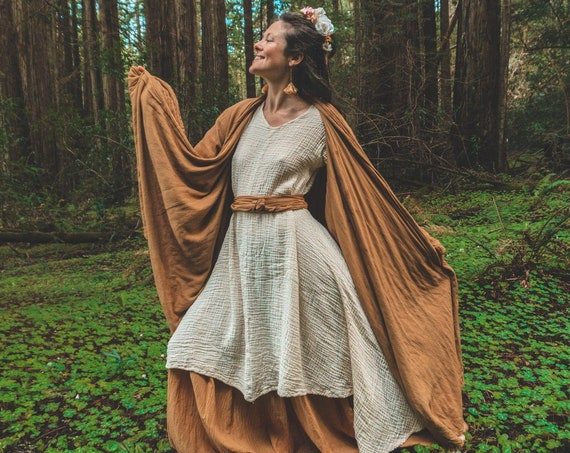 Cotton Cloak in LIQUID AMBER // Duster Jacket // Cozy Robes for Warm Hearts