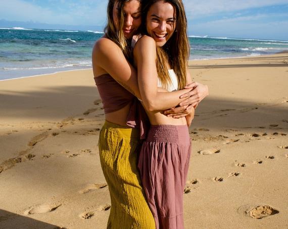 Natural Yoga Pants in DESERT ROSE // Flexible Waistband, Natural Fiber, Whole body breathes!