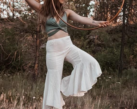 Gauze Bells in CREME NATURAL // 100% Cotton Gauze Breathable Yoga Dance Play Pants // Feel Good