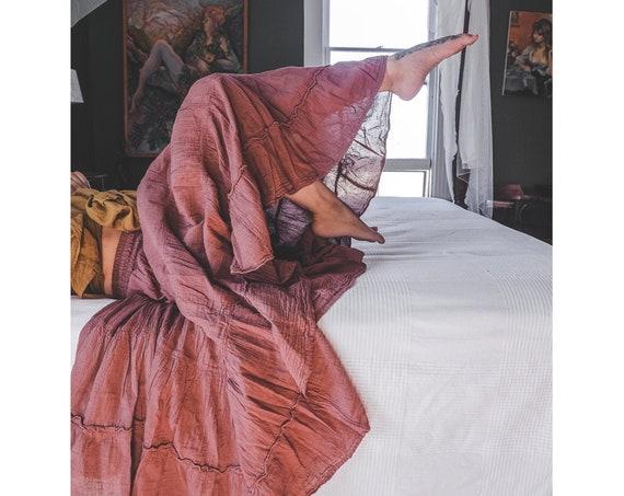 Flutter Skirt in DESERT ROSE // Lush Cotton, Natural Fiber, Flexible Waistband / Woman Be Free