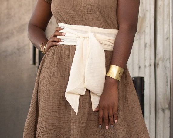 Cotton Belly Wrap in CREME NATURAL // Sacred Sash, Womb Wrap, Mini Turban, Cotton Belt // Accentuate your Divine Femininity