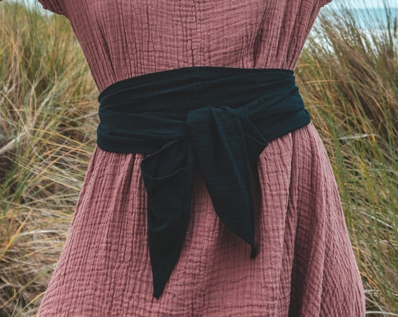 Gauze Cotton Belly Wrap in BLACK // Sacred Sash, Womb Wrap, Mini Turban, Cotton Belt, Breast Wrap // Accentuate your Divine Femininity