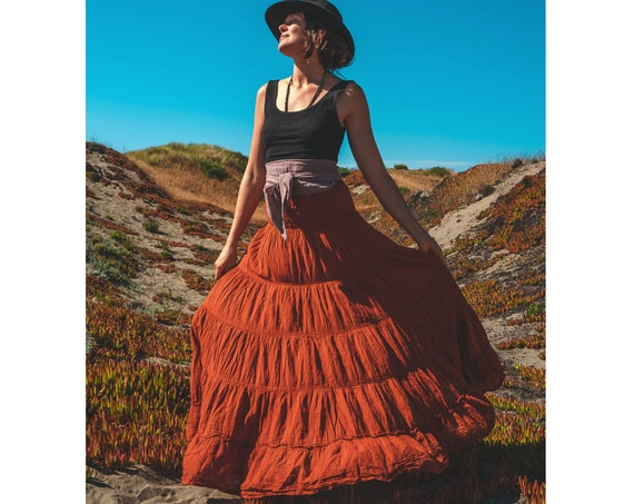 Flutter Skirt in RUST // Lush Cotton, Natural Fiber, Flexible Waistband /