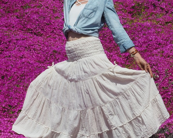 Gauze Tiered Skirt in CREME // Pockets, Natural Fiber, Flexible Waistband / Breathable!