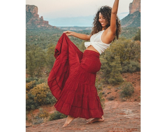 Flutter Skirt in RED ROSE // Lush Cotton, Natural Fiber, Flexible Waistband / Woman Be Free
