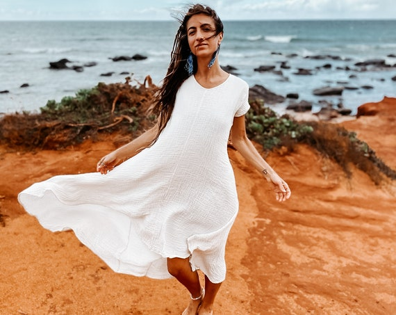 Softest Tee Dress in CREME NATURAL // Breathable Woven Cotton Dress // Wrap yourself in a Thousand Kisses