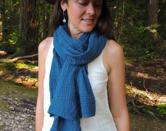 Fluffy Gauze Scarf in OCEAN // Natural Fiber Cotton, Double-Layered / Wrap Yourself in Pillows