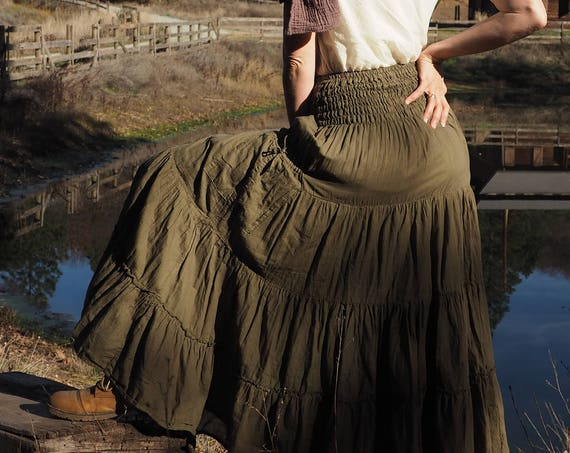 Gauze Tiered Skirt in OLIVE // Pockets, Natural Fiber, Flexible Waistband / Emerald Forest Fairy Skirt