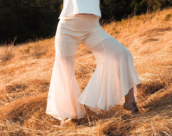 Gauze Bells in CREME NATURAL // 100% Cotton Gauze Breathable Yoga Dance Play Pants // Feel Good