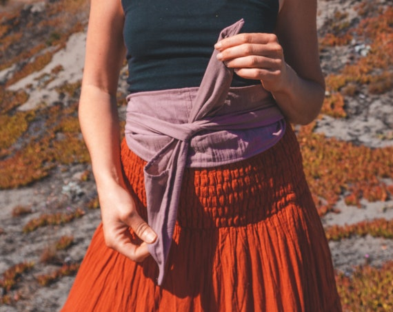 Gauze Cotton Belly Wrap in THISTLE // Sacred Sash, Womb Wrap, Mini Turban, Cotton Belt // Accentuate your Divine Femininity