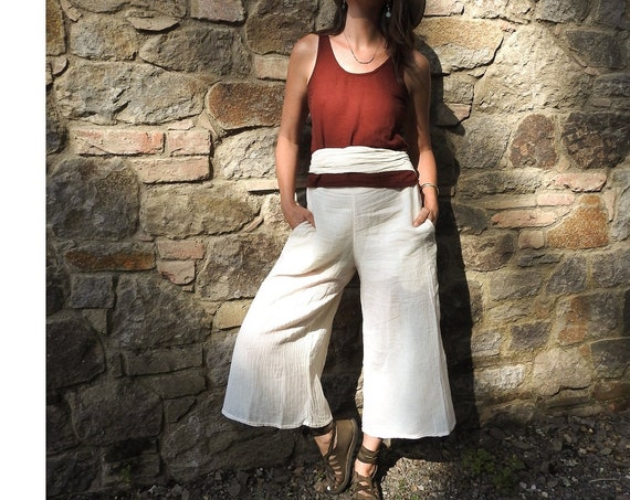 SALE! The Audrey Pant in CREME NATURAL // Gauze Cotton Crop with Pockets // Move in Elegance and Dignity