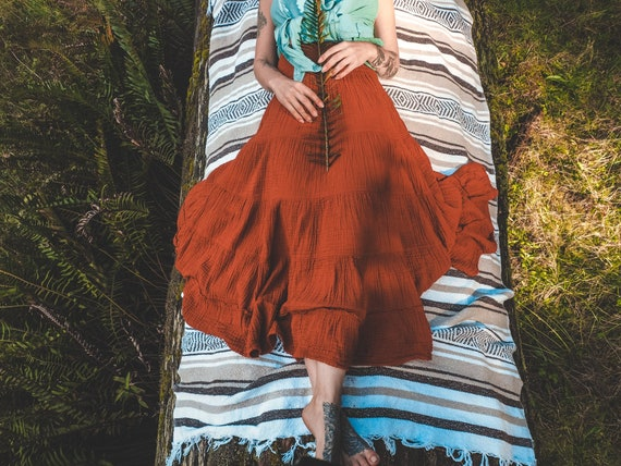 Sophia Skirt in RUST // Soft Lux Cotton Tiered Skirt // A Classic Skirt for Kindled Queens