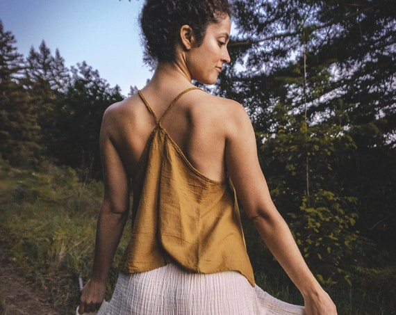 Gauze Cami in GOLD // Gauze Cotton Natural Airy Dream // Hearts Breathe Free