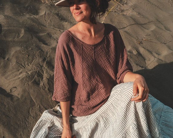 Cotton Poncho-Style Sleeved Top in DESERT ROSE // Fluffy, Breathable, Free-Moving Elegance!