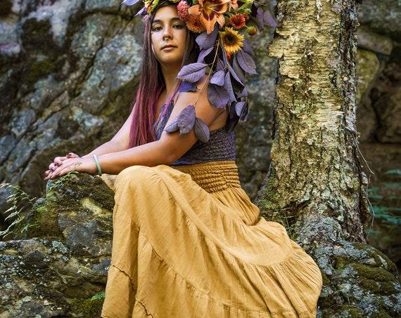 Flutter Skirt in GOLD // Lush Cotton, Natural Fiber, Flexible Waistband /