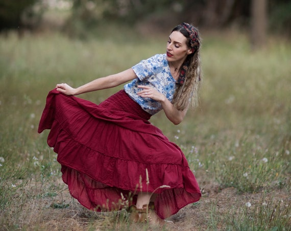 Gauze Tiered Maxi Skirt in BARN RED // Pockets, Natural Fiber, Flexible Waistband / Breathable Elegance!