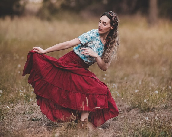 Gauze Tiered Maxi Skirt in RED ROSE // Pockets, Natural Fiber, Flexible Waistband / Breathable Elegance!
