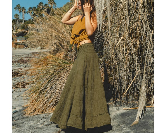 Sophia Skirt in OLIVE // Soft Lux Cotton Tiered Skirt // Built for Nature