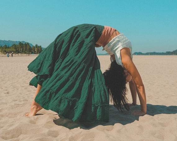 Flutter Skirt in EMERALD // Lush Cotton, Natural Fiber, Flexible Waistband / Romance Yourself