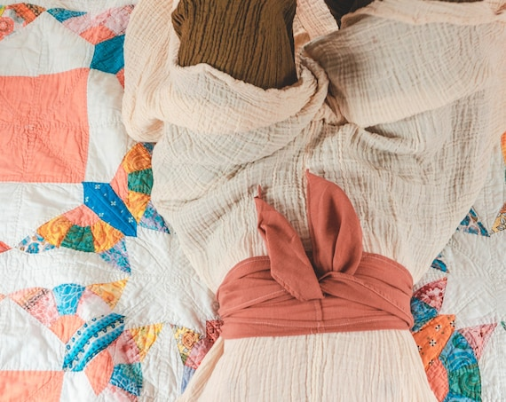 Gauze Cotton Belly Wrap in BLUSH // Sacred Sash, Womb Wrap, Mini Turban, Cotton Belt // Accentuate your Divine Femininity