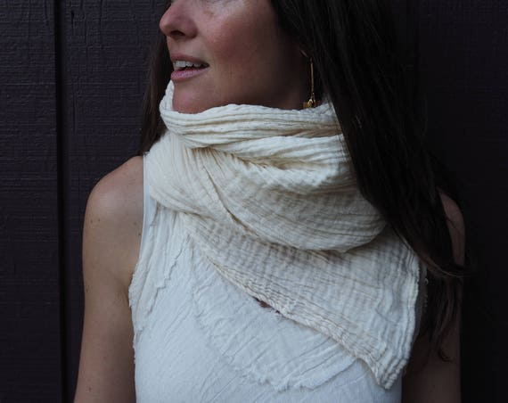 Fluffy Gauze Scarf in CREAM // Natural Fiber Cotton, Double-Layered / Wrap Yourself in Pillows