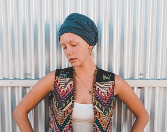 Soft Turban in SLATE // Natural Fiber Cotton, Double-Layered / Wrap Yourself in Pillows