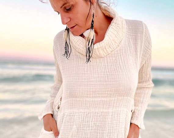 Khuna Cowl in CREME NATURAL // Cotton Natural Cozy Pullover Pockets // You are Yummy & Loved