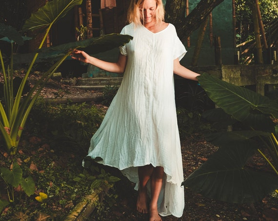Softest Tee Dress in WHITE // Breathable Cotton T-Shirt Dress // Wrap yourself in a Thousand Kisses