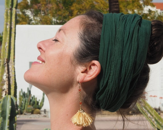 Gauze Crown Scarf in EMERALD // Goddess Crown, Frida Kahlo in Cotton, Mini Turban, Gauze Cotton Headcover // Be the Queen You Are